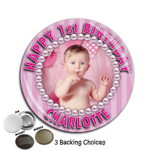 Large 75mm Personalised Pink Stripe Happy Birthday PHOTO Badge N65